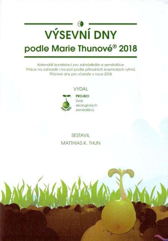 Obálka ročenky Výsevní dny podle Marie Thunové. M. K. Thun, PRO-BIO