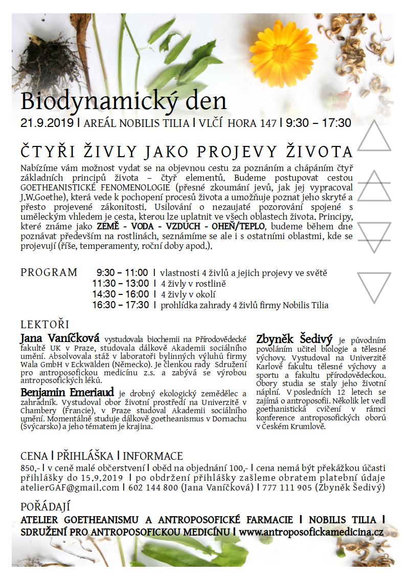 Biodynamický den 21.9.2019 - plakát
